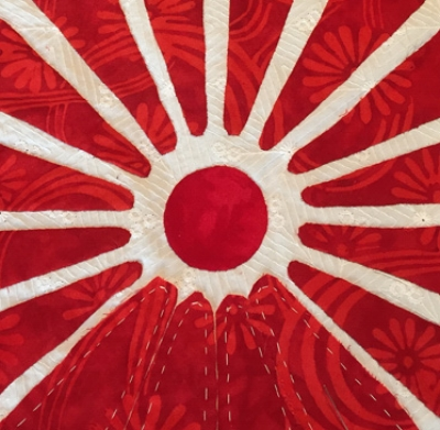 """Playing with my own designs, I've created a Red & White Quilt. The quilt's Center circle has a 1 1/2"""" diameter."""