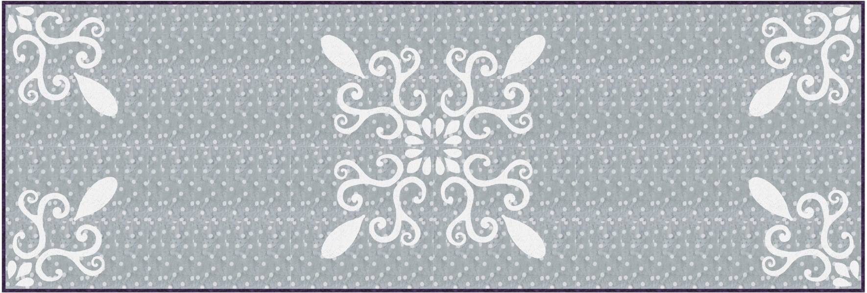"""Chantilly Lace, table runner XIV (20"""" x 60"""") simple elegance in stunning gray and white for hand or machine reverse applique. designed for Batik Textiles, fall 2017."""