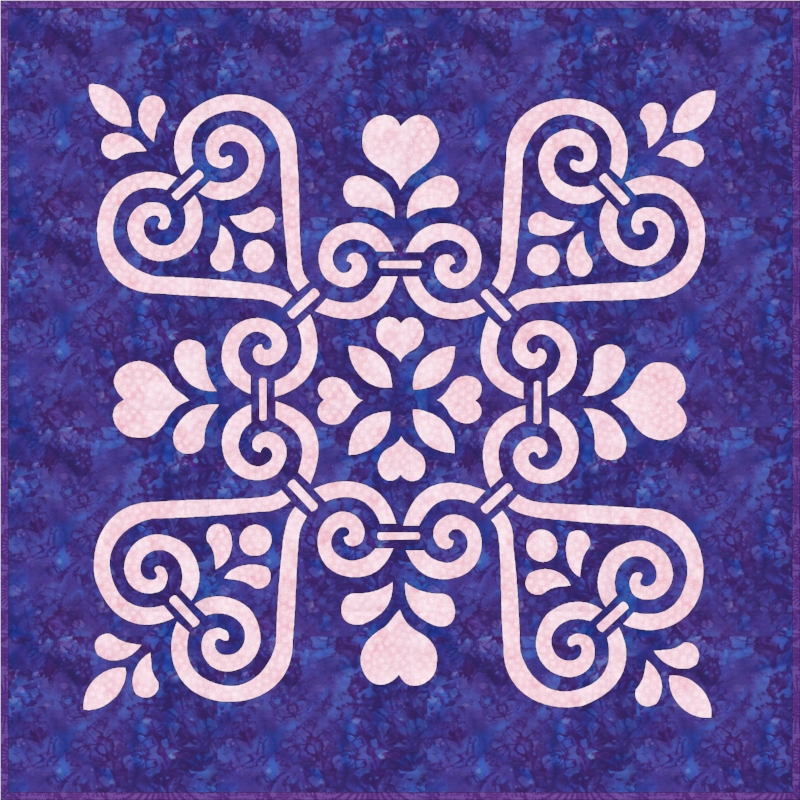 """Sweetheart Sorbet   (26"""" x 26""""). This sample was made by hand reverse applique"""