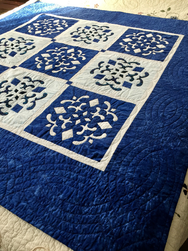 """Double Dutch Delft   , (56"""" x 56"""") my first two-color quilt."""
