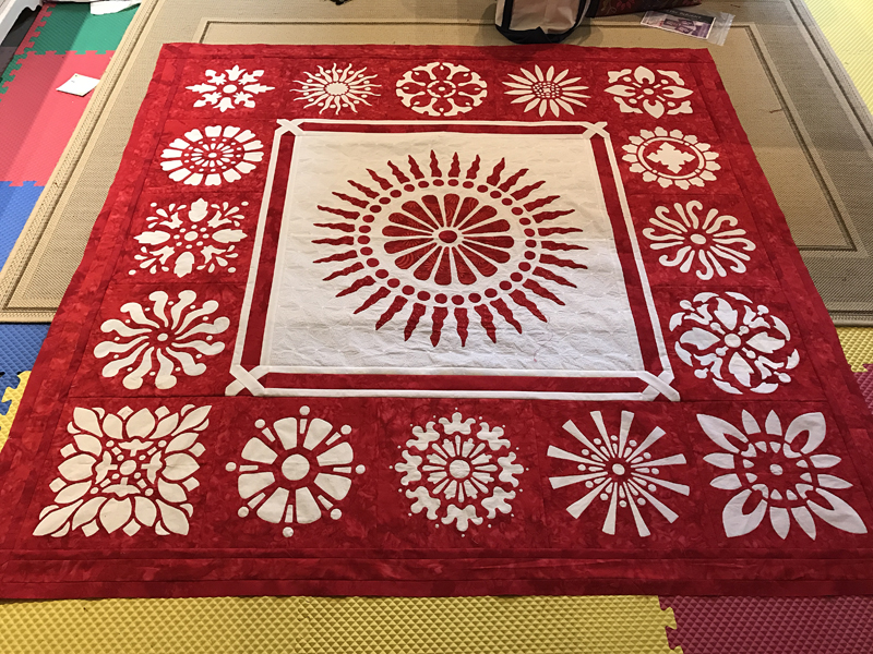 Early January 2017 my red & white quilt top was assembled and ready for layering and thread basting.