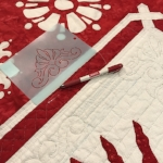 Tracing stencil for red space in reverse applique block border.