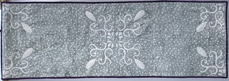 """Chantilly Lace table runner XIV (20"""" x 60"""") in fabrics by Batik Textiles."""