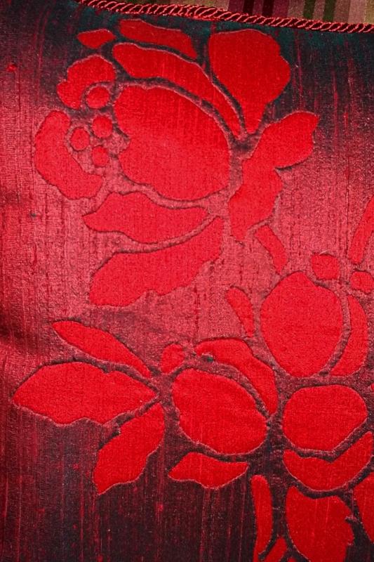 "Rose 2/9 (16"" x 16"") created in dupioni silk."