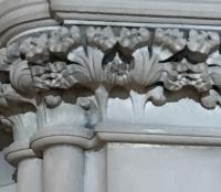 Stone carved column top, Leeds.