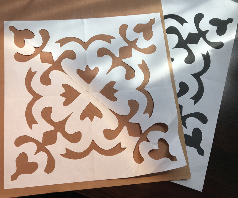 My paper cut and pattern piece fro Spring Love block.