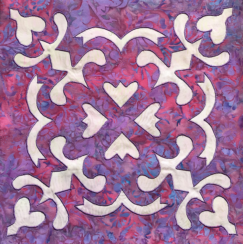 """Spring Love block (12"""" x 12"""") created by machine reverse applique using Trace, Snip, Iron & Stitch."""