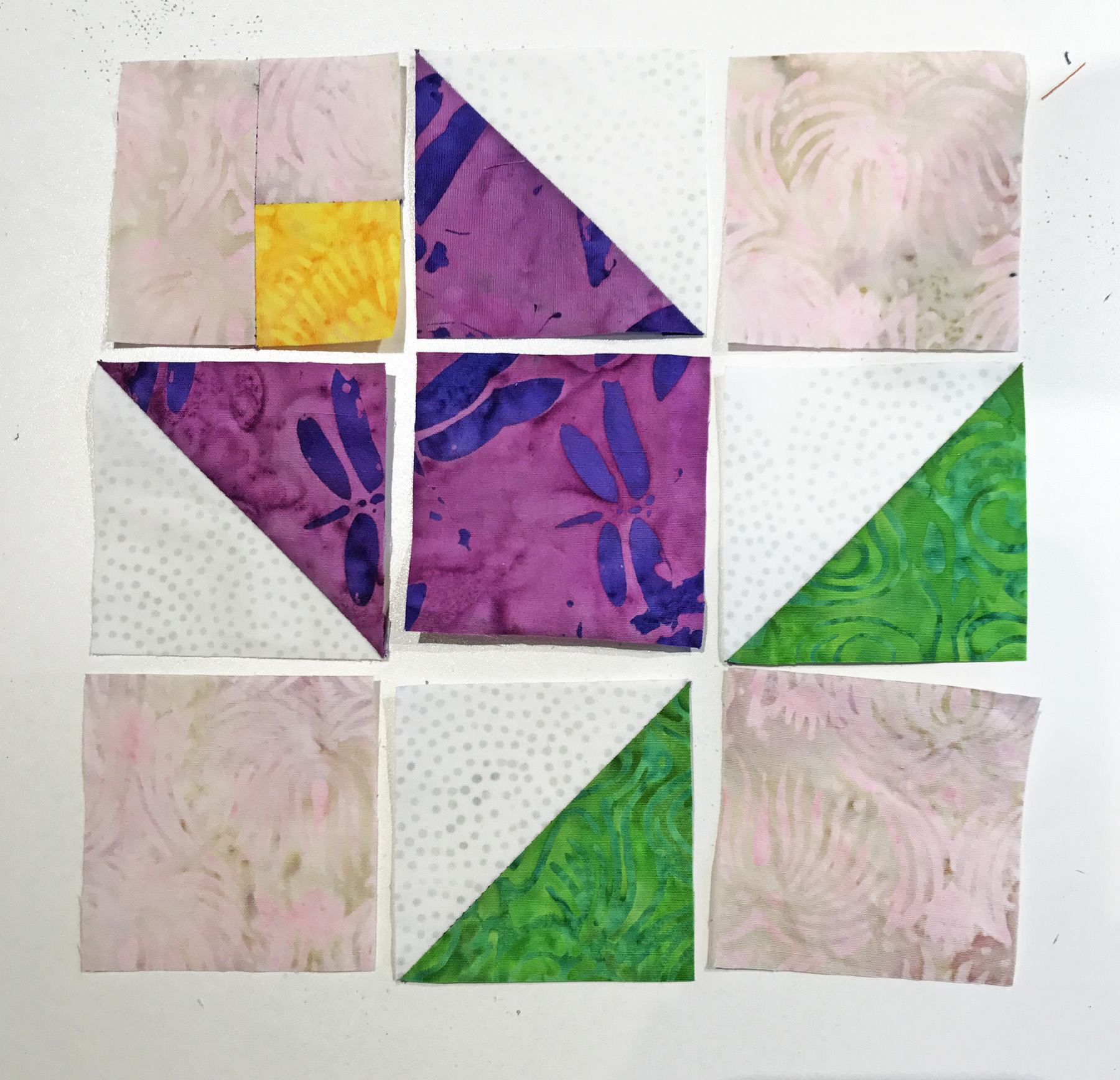 """Tulip block (6"""" x 6"""") all ready for sewing together."""