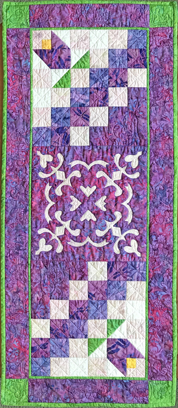 "Flowers in the Wind: table runner XV    (18"" x 42"") for hand or machine reverse applique done the easier Eye of the Beholder Way...Trace, Baste, Snip & Stitch!"