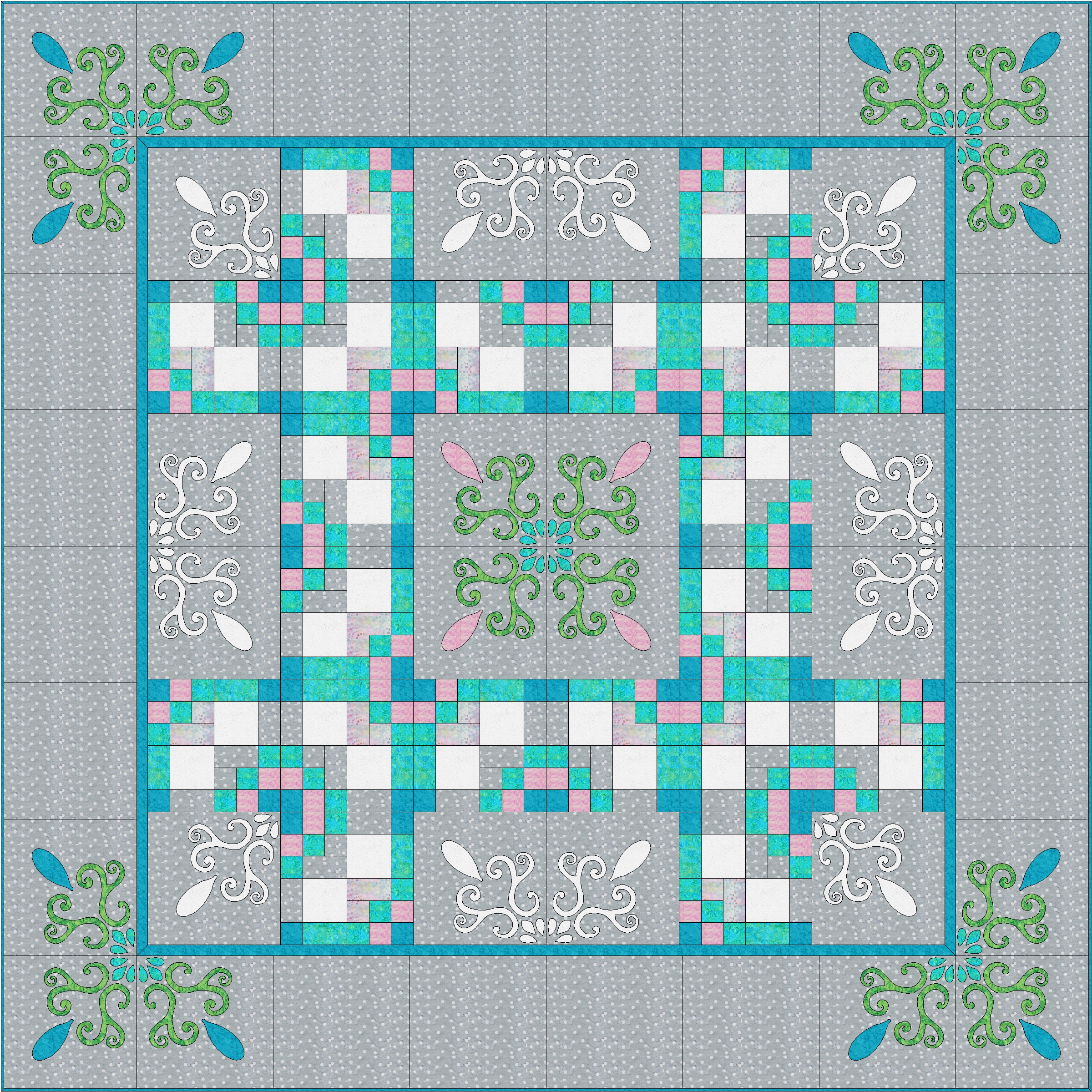"Spring Breeze Quilt XII (98"" x 98"") for hand or machine reverse applique, applique and machine piecing. Designed for Batik Textiles Spring 2018."