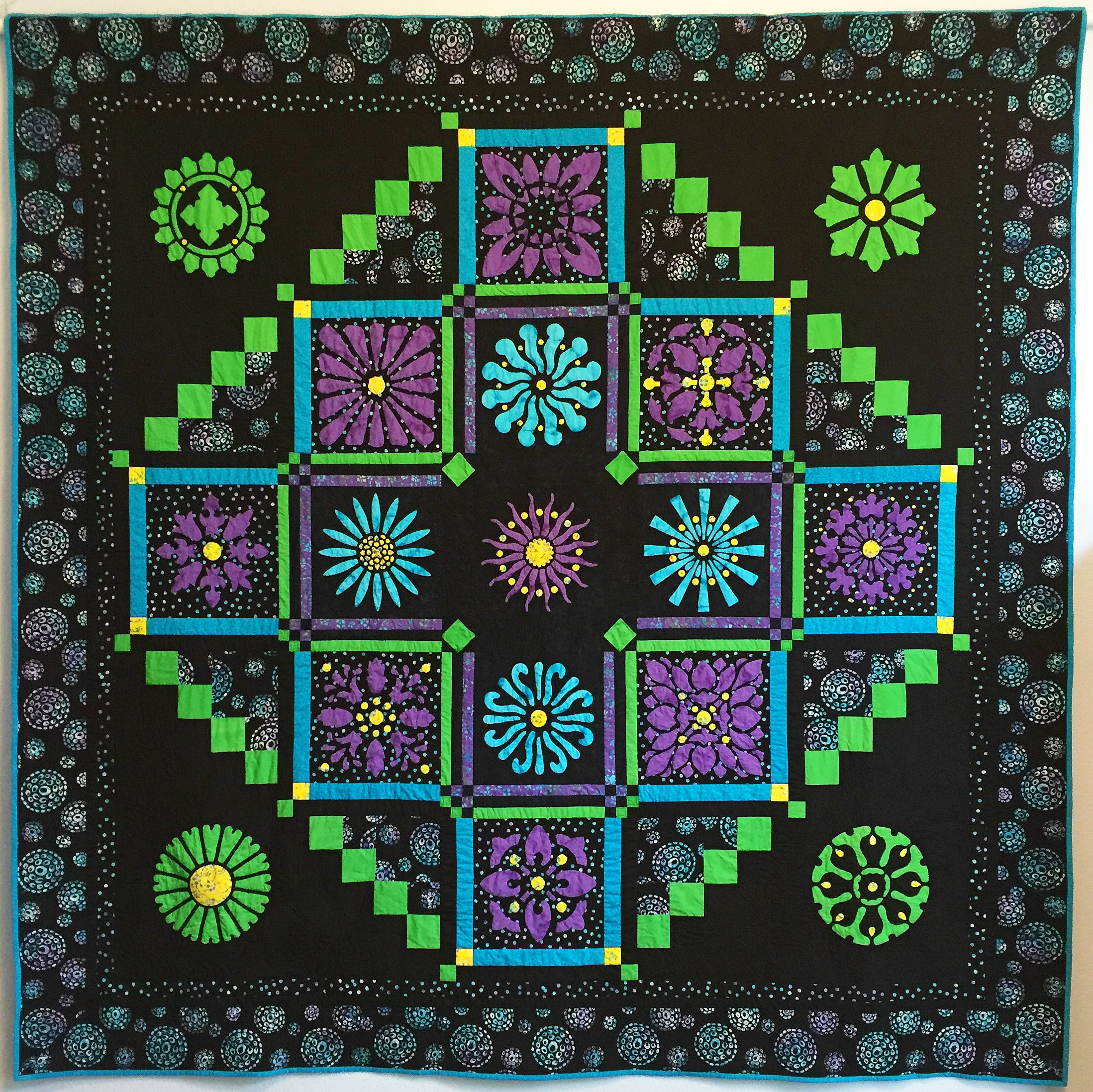 "Midnight Explosion Quilt VII    (95"" x 95"") for hand or machine reverse applique. Designed for Batik Textiles Spring 2017."