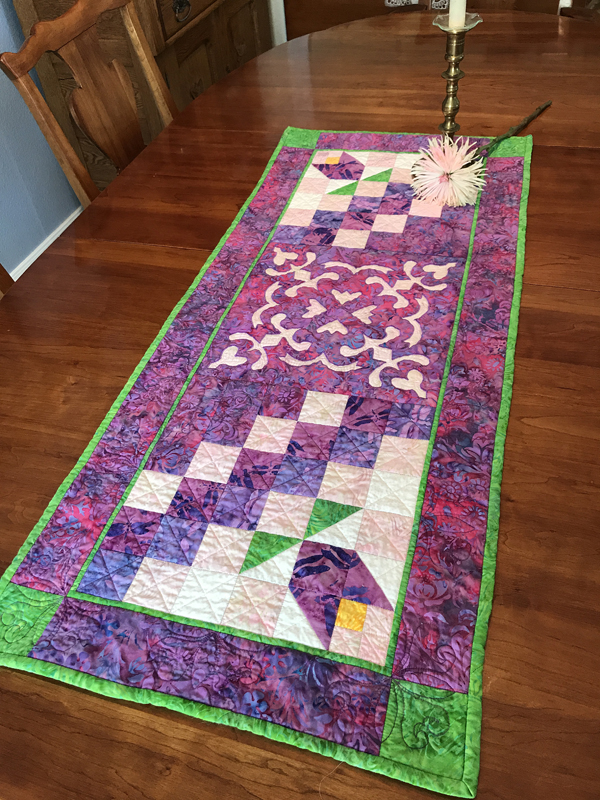 """Flowers in the Wind table runner XV    (18"""" x 42"""")"""