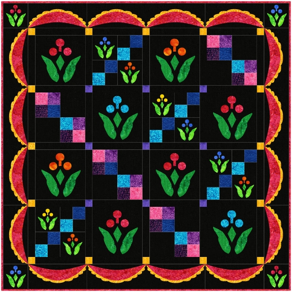 "Lollipop Garden Quilt XV (40"" x 40""). Hand or machine reverse applique with applique."