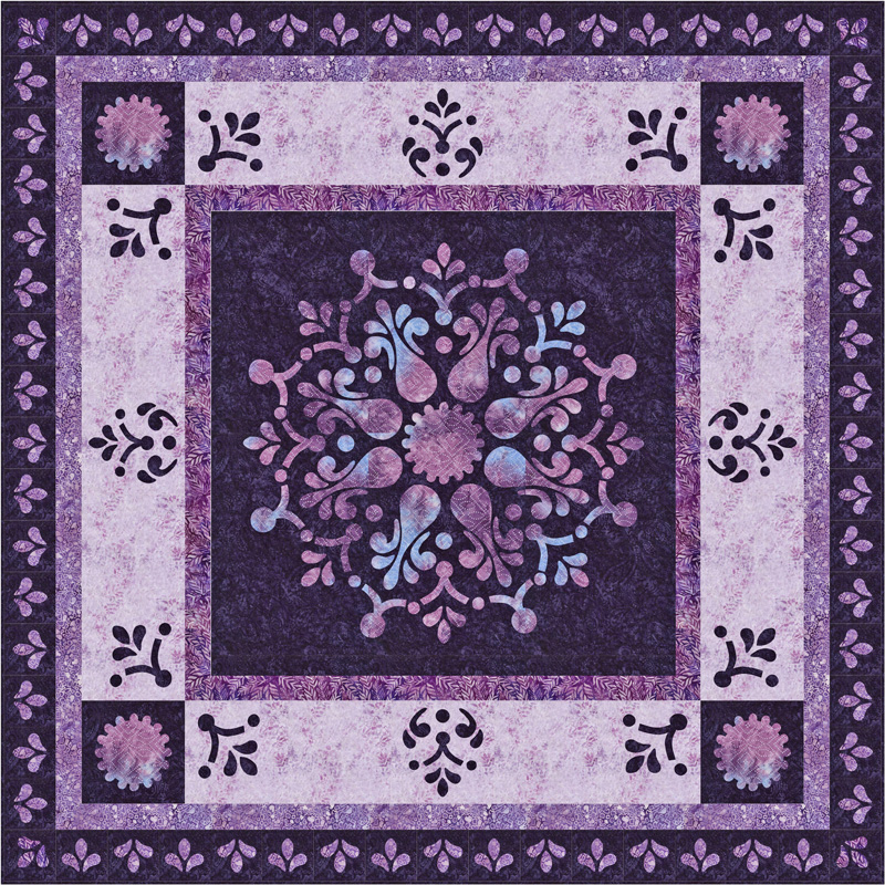 "NEW!    Appassionata Quilt XIV   (68"" x 68""). Hand or Machine Reverse applique and applique."