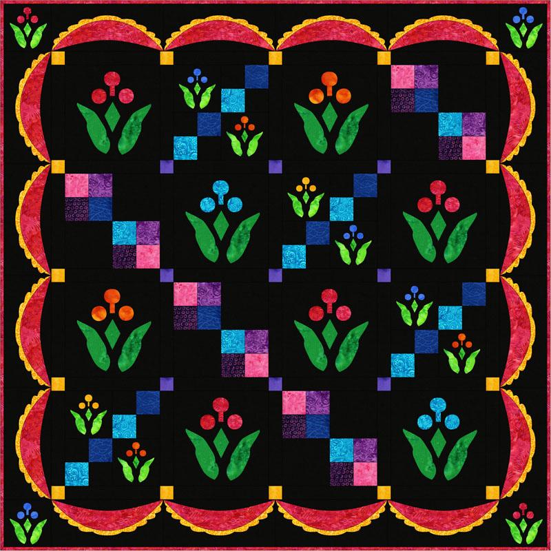 "Lollipop Garden Quilt XV (40"" x 40"")"