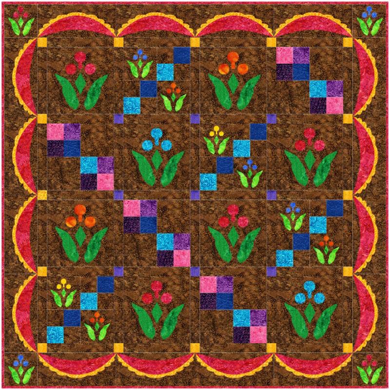 "Lollipop Garden Quilt XV (40"" x 40""), alternate colorway."