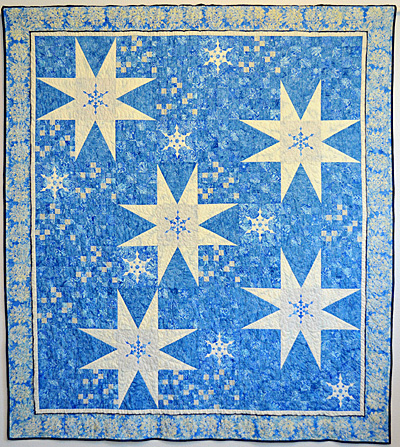 Twinkling Flurries Quilt VI:  Beginner by machine, Intermediate by hand