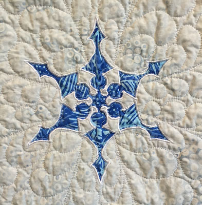 Snowflake block by machine, from Twinkling Flurries Quilt VI. Beginner by machine