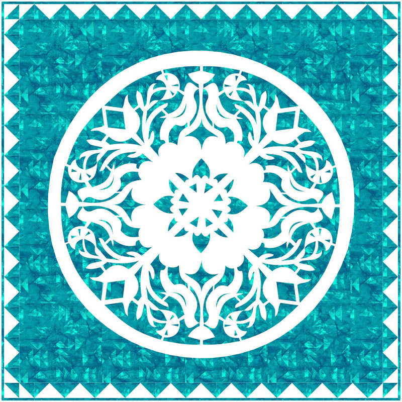 "Try it in Turquoise blue,and just make the center to create a 39"" x 39"" quilt wall-hanging."