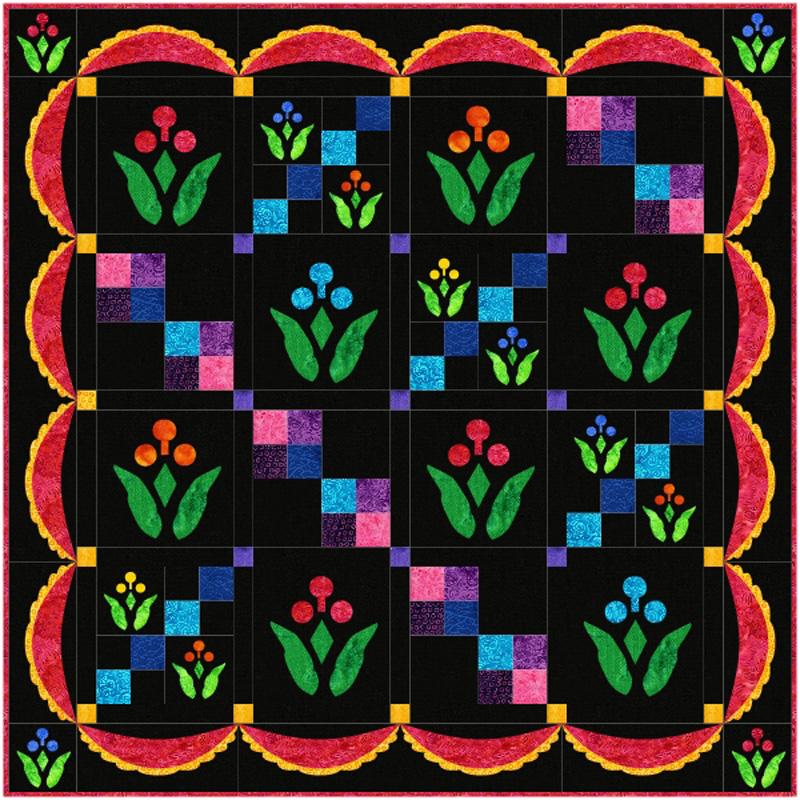 """Lollipop Garden Quilt XV (40"""" x 40"""") in black & brights."""