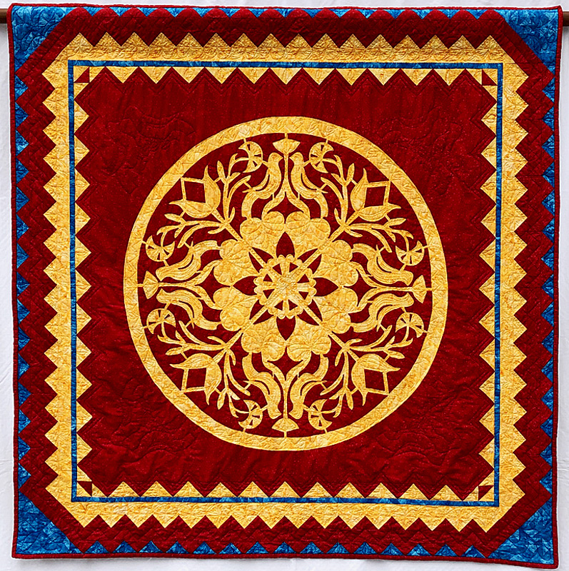"""Legacy, Medallion XVI    (50"""" x 50"""" Hand Reverse Applique with Paper-Pieced border"""