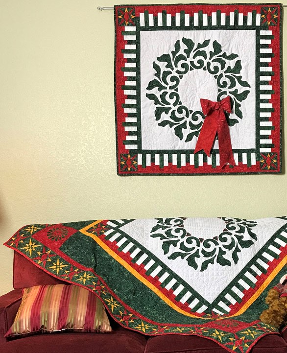 """Radiant Wreath  (37"""" x 37"""") and  Radiant Christmas Quilt  (60"""" x 60""""), two of 17+ projects from    """"Christmas RAPPing, Christmas Quilts featuring Reverse Applique & Paper-Piecing""""    Book by Margaret Brewster Willingham & Nan Baker."""