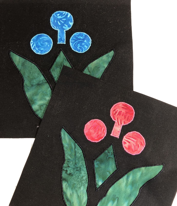 """7"""" Lollipop Flower Block, the focus of our workshop. Made by machine reverse applique and applique."""