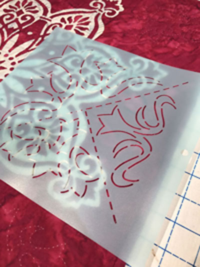 Stencil motif HOL-355-08 by The Stencil Co. to fill in the top, bottom and sides of   Rose Window   re-make.