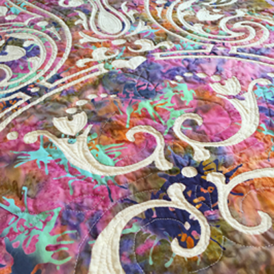 """Eternal Spring table runner VII    (18"""" x 43"""") Hand reverse applique, machine quilted in the ditch and echoing the shapes and 1/2"""" outside some shapes and other details in the top fabric."""