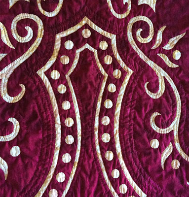 """Abounding Grace table runner VIII   (20"""" x 56"""") Hand reverse appplique, hand quilted in the ditch and echo of pattern shapes and outside the shapes."""