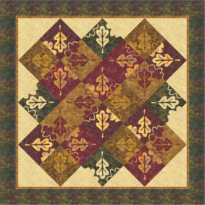 """Falling Leaves Quilt IX   (82"""" x 82"""") for Hand or Machine reverse applique."""