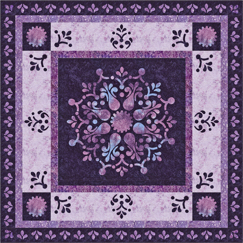 """Appassionata Quilt XIV   (68"""" x 68"""") for Hand or machine reverse applique with applique. Learn to make this pattern in the class at Road to CA 2020."""