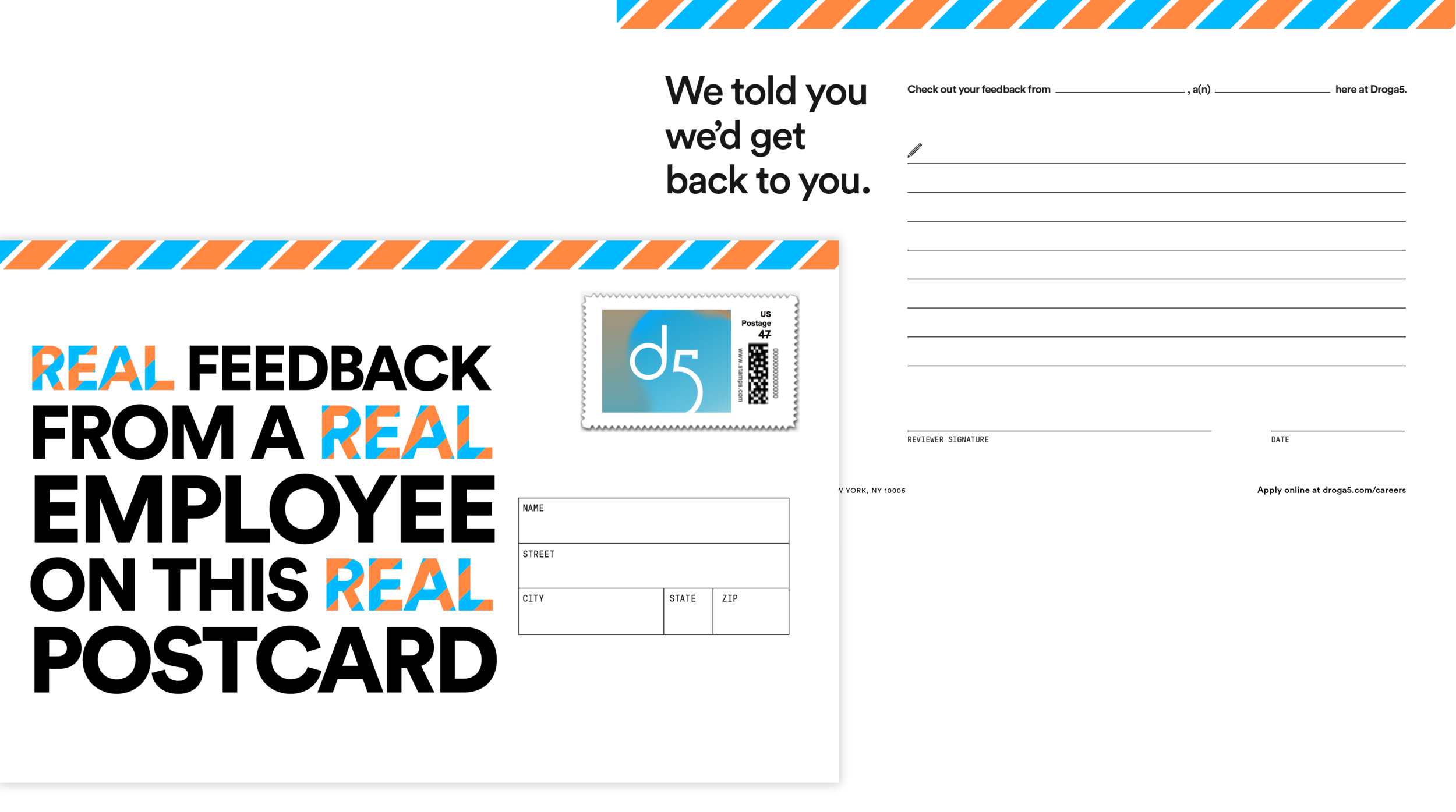 This was the postcard attendees received in the mail, each filled out by a Droga5 employee.