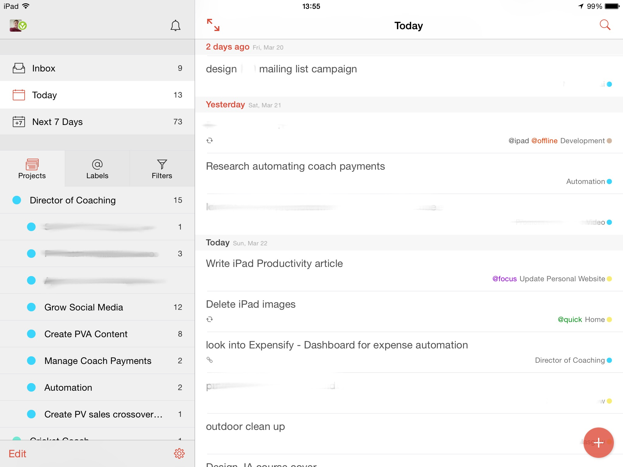 Viewing today's list of tasks in Todoist