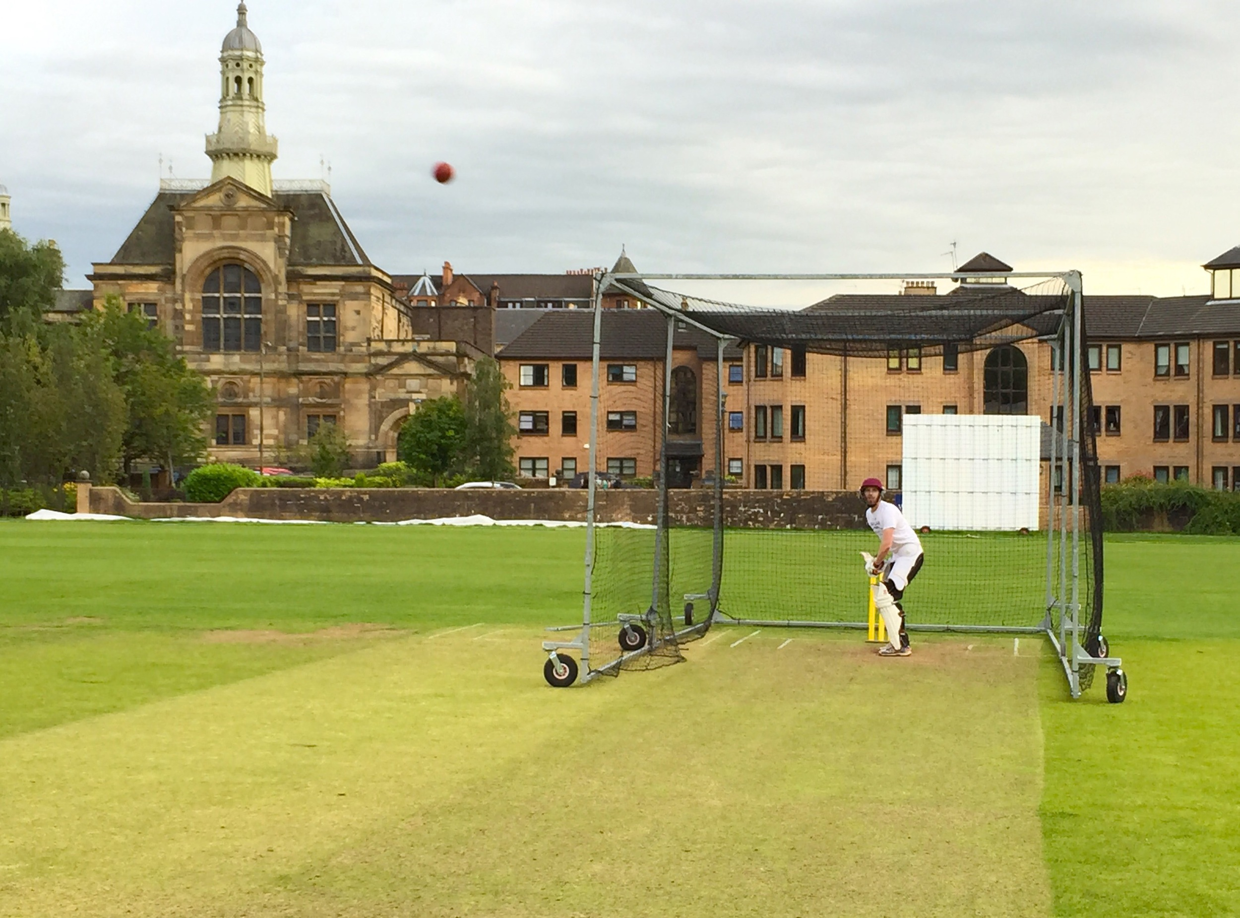 An outdoor net session at West of Scotland CC.