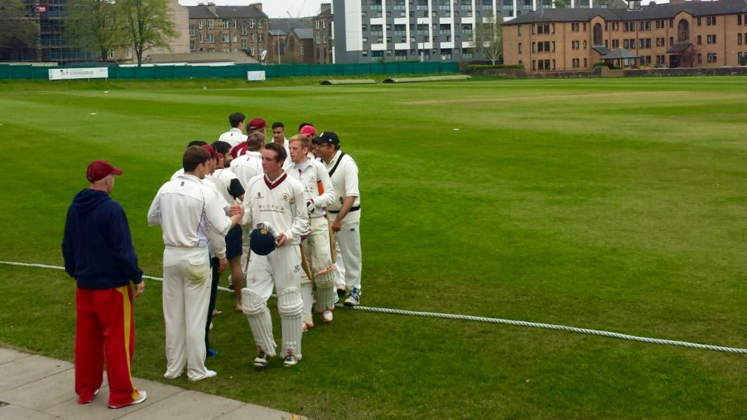 Hanshakes after West of Scotland's win over Irvine in the Scottish Cup