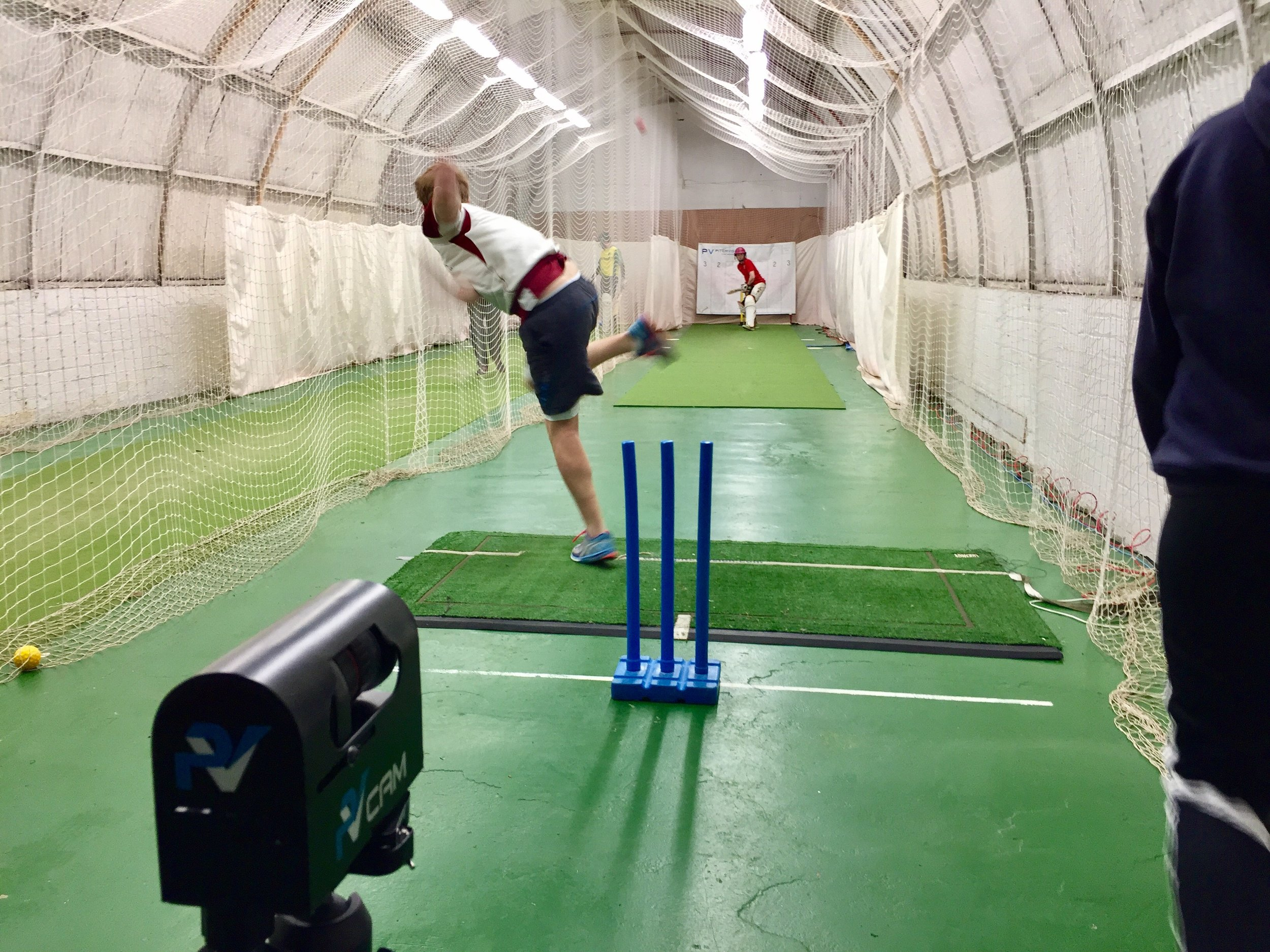 Cricket nets in Glasgow at West of Scotland CC. PitchVision video analysis is seen in action.