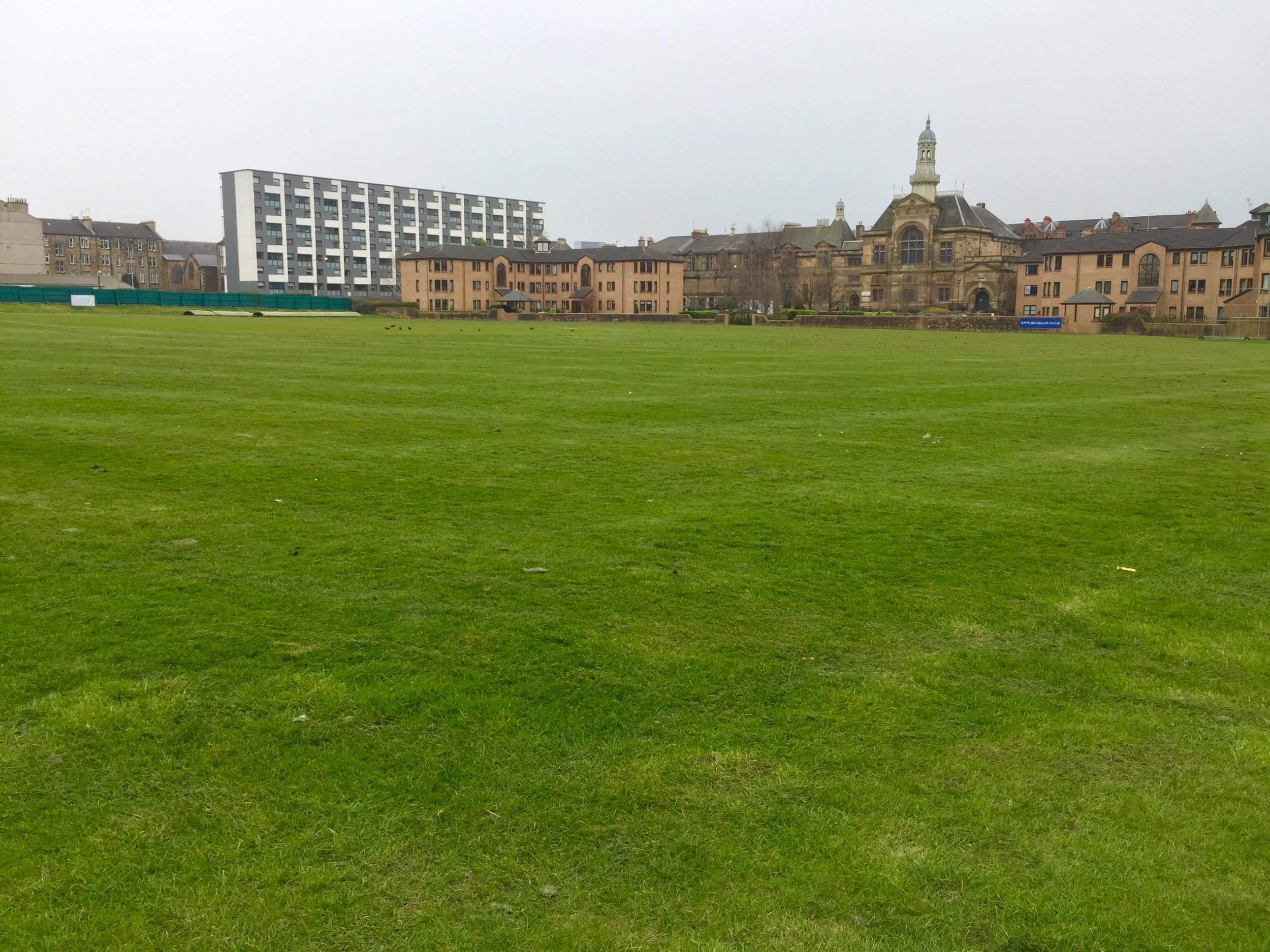 The West of Scotland Cricket Club outfield gets a spring haircut.