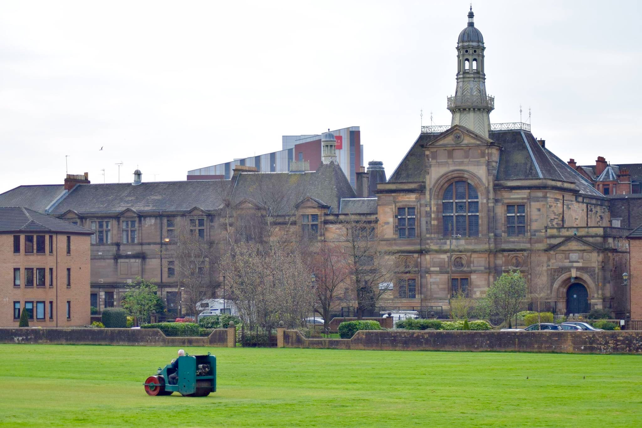 Rolling the square: Spring preparation at West of Scotland Cricket Club, Glasgow.