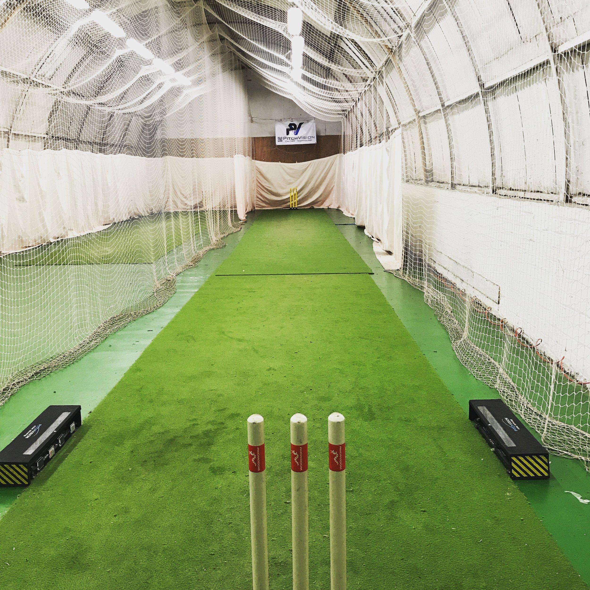 "The ""office"": indoor cricket nets in Glasgow."