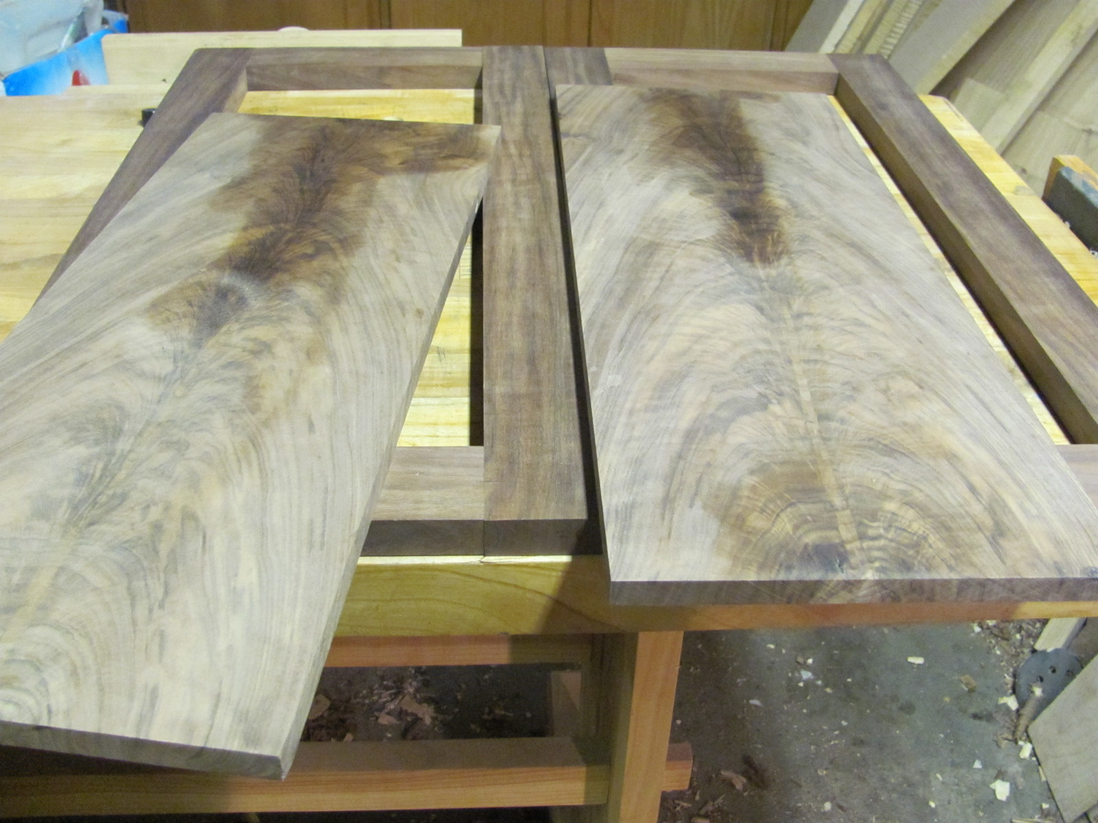 Solid panels re-sawn on the band saw