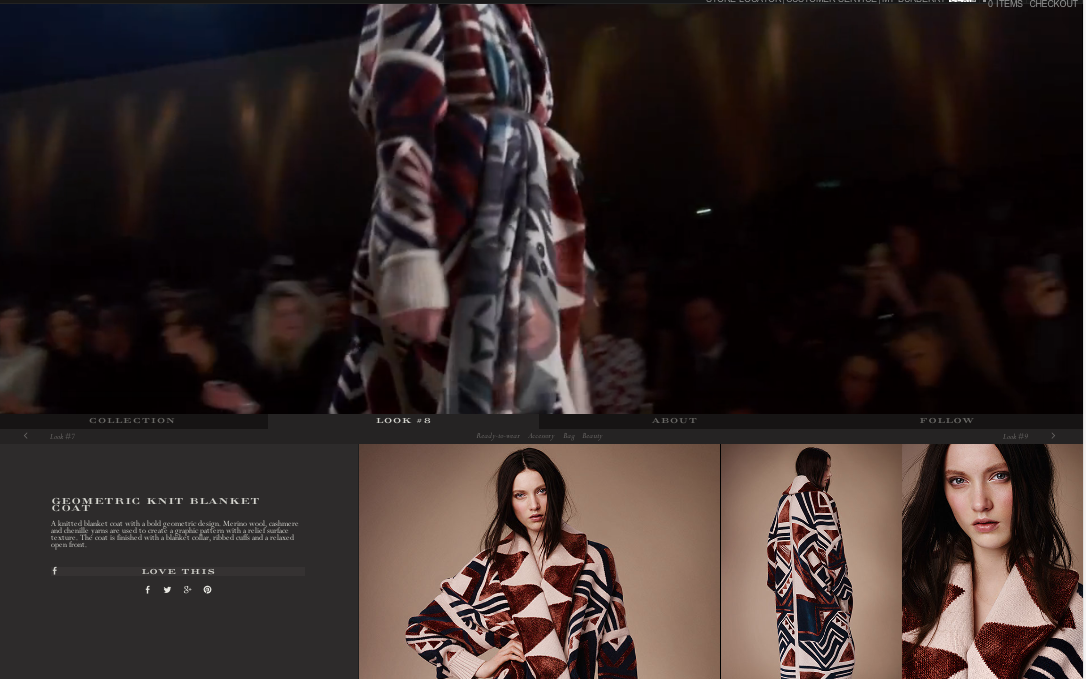 Burberry Shop the Runway  shows the video clip of the look on the runway with all of the items, from the outerwear to the nail polish, available for purchase or to 'like' for when it's in stores.