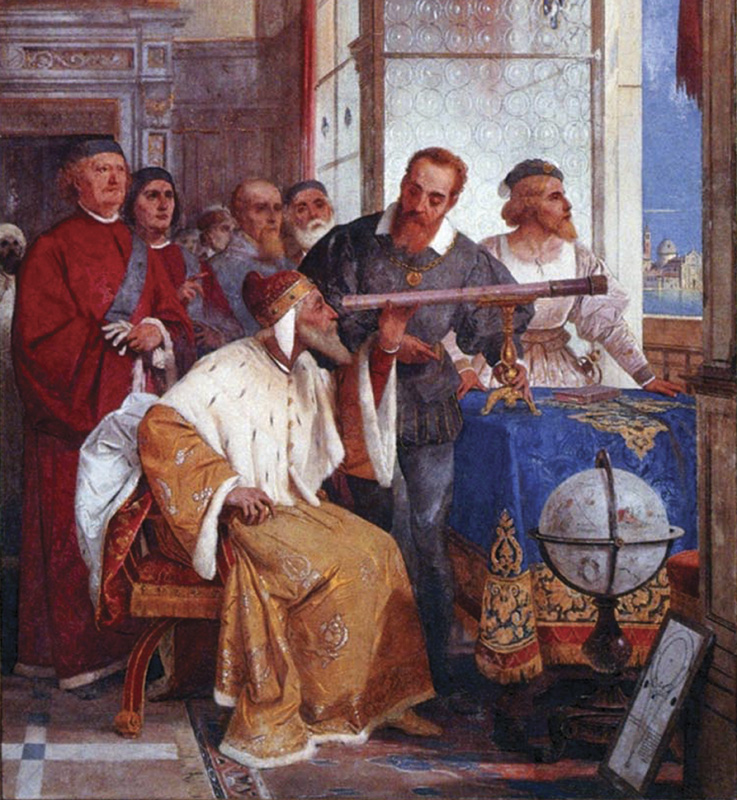 Galileo showed the   Doge of Venice   how to use the telescope (Fresco by   Giuseppe Bertini  )
