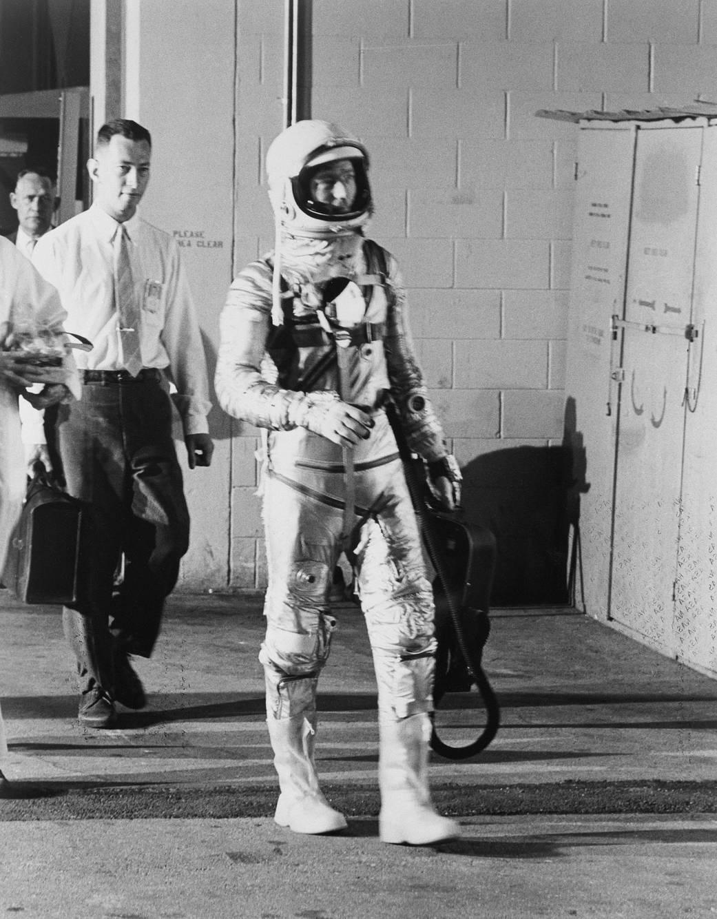Scott Carpenter Walking to Mercury Atlas 7 launch,1962