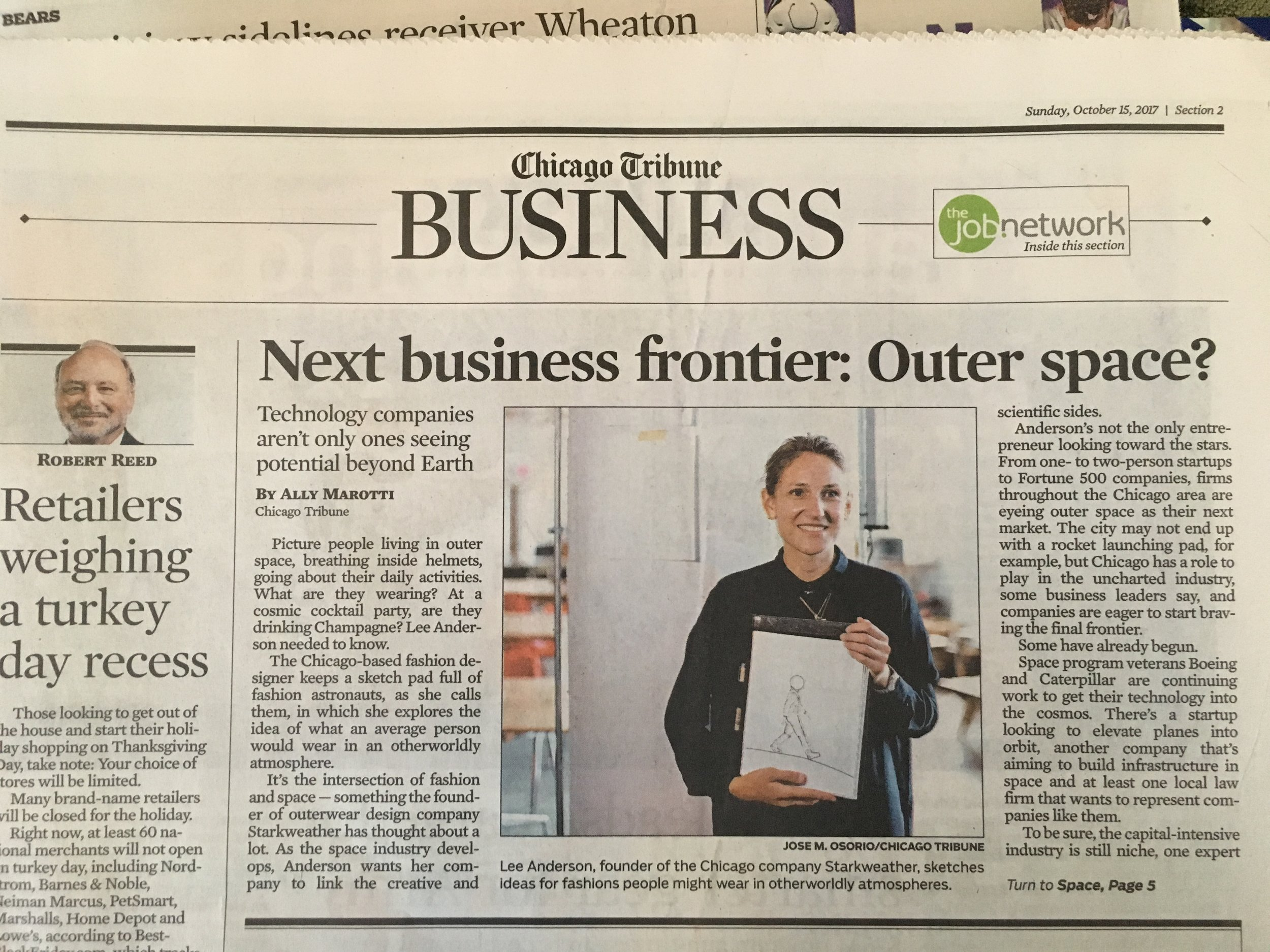 Page 1 of the business section on Sunday, October 15
