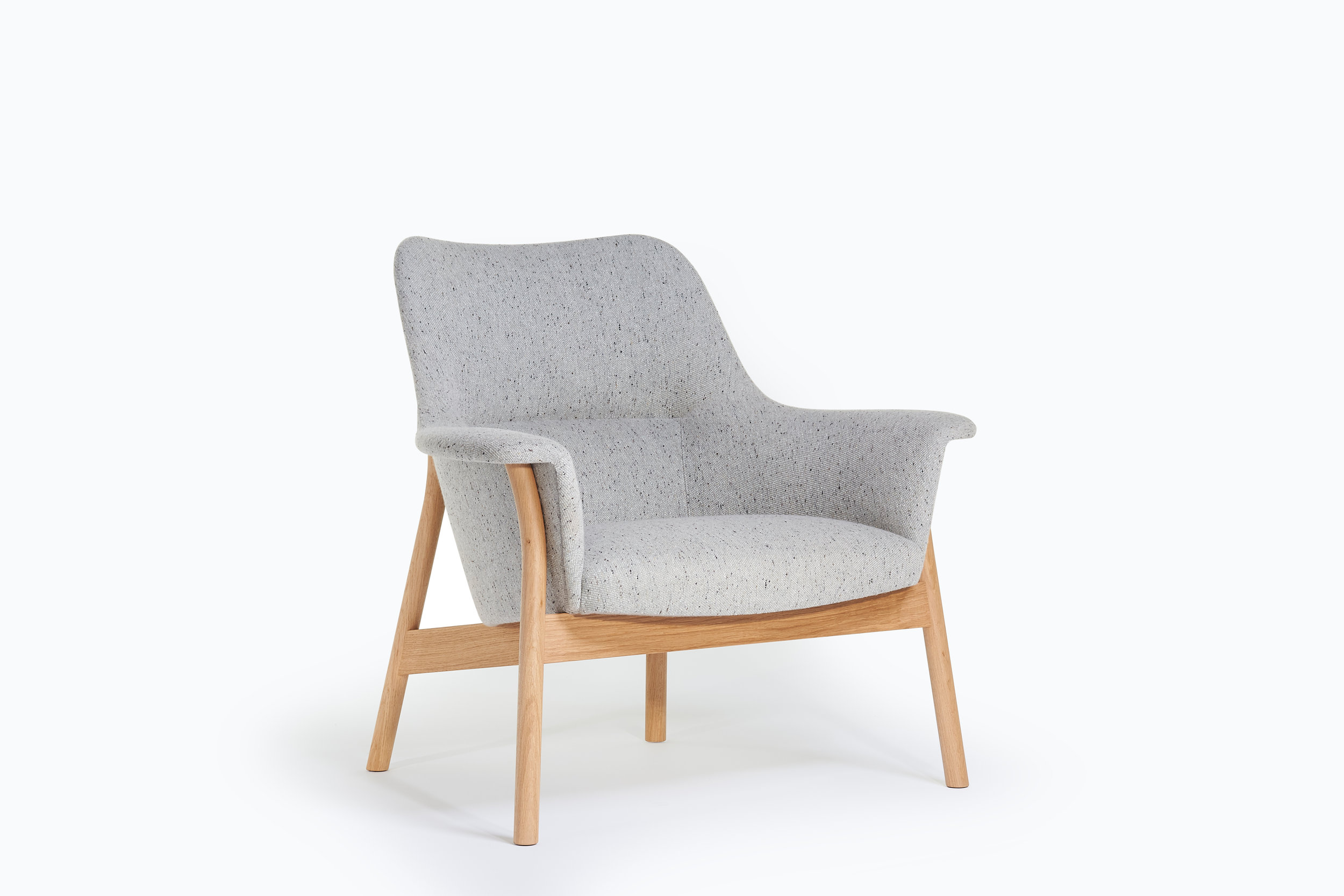 Oak and upholstered Oxbow lounge chair