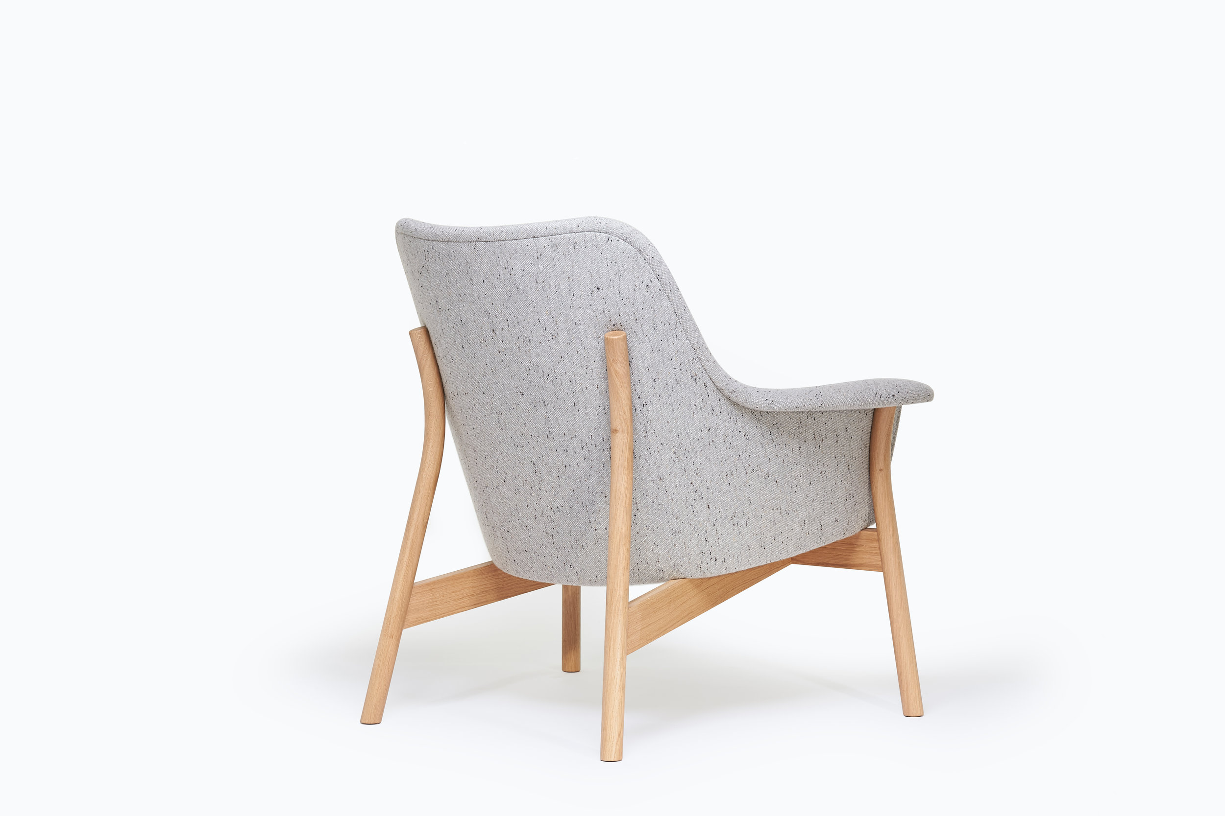 back view of oak and upholstered lounge chair