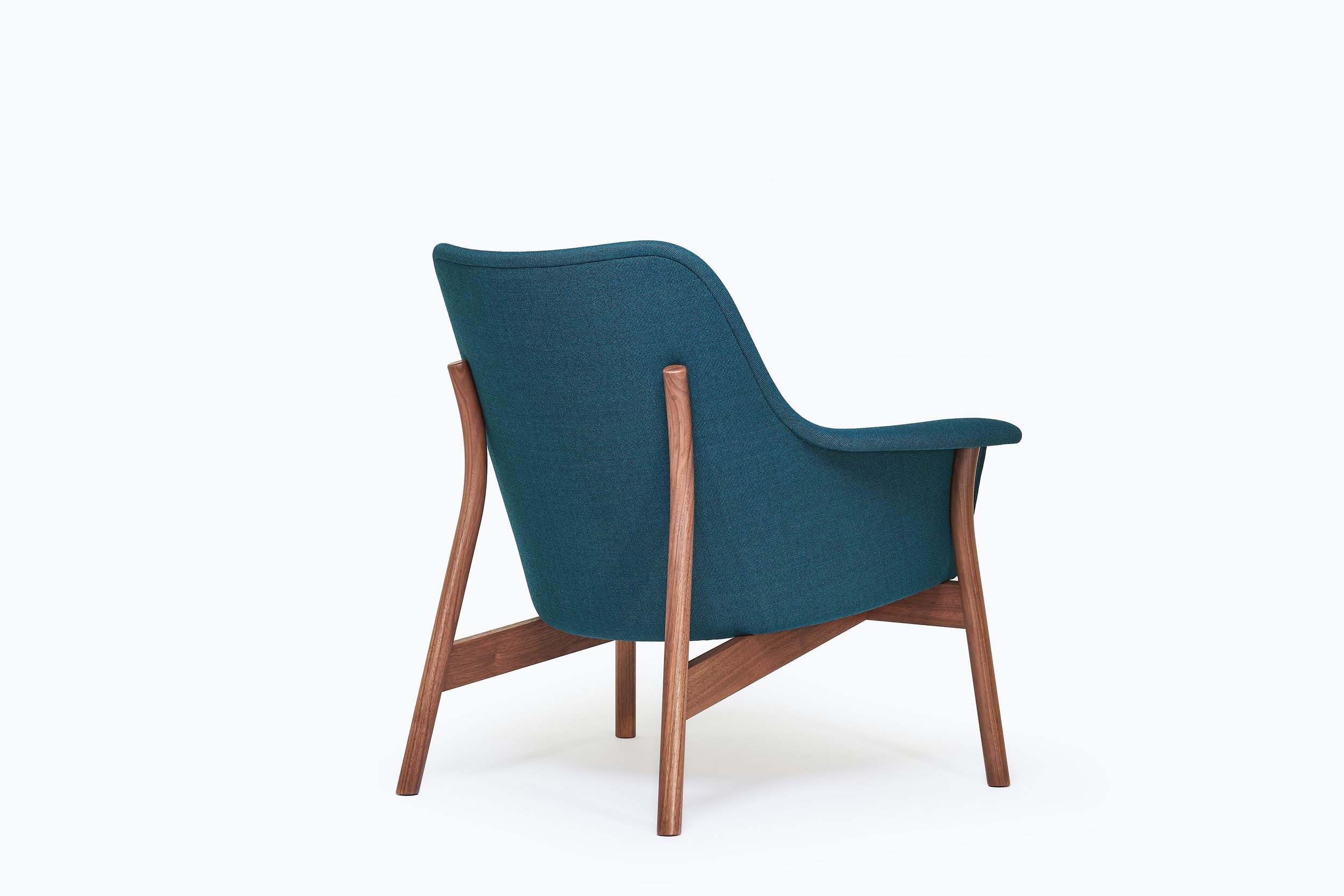 back view of award winning oxbow lounge chair by furniture maker Namon Gaston