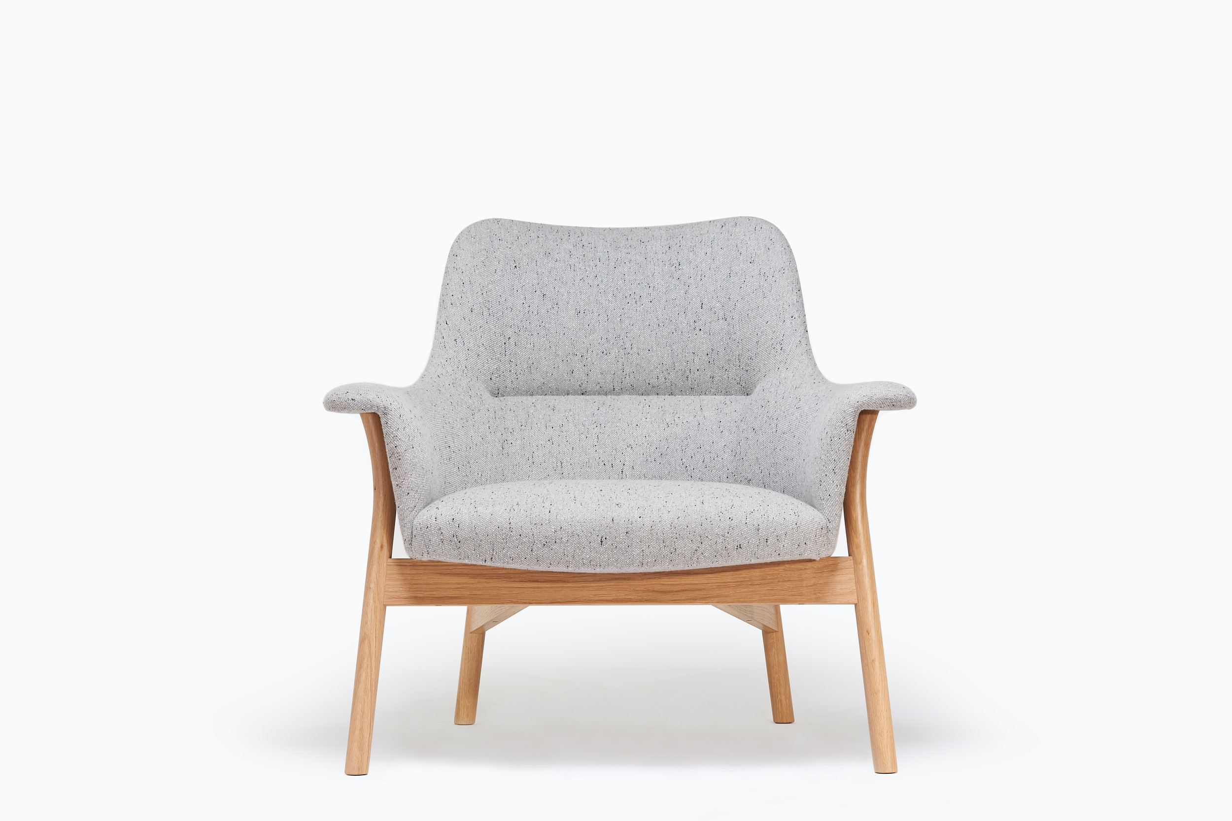 Grey new wool upholstered lounge chair in Oxbow Collection by designer maker Namon Gaston