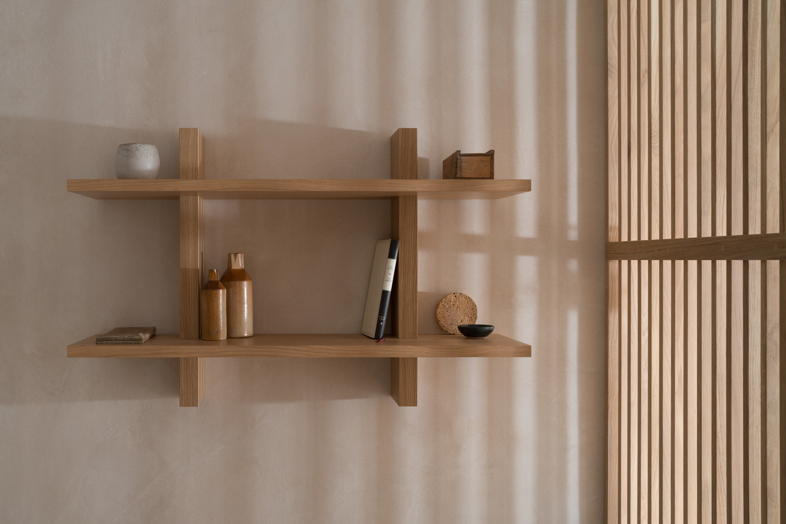 Oak Shelving unit in Porteous' Studio